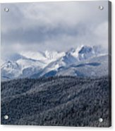 Storm Clouds Receding And Fresh Snow On Pikes Peak Acrylic Print