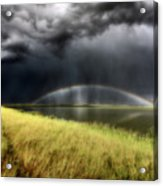 Storm Clouds And Rainbow Over Chaplin Lake Marshes Acrylic Print