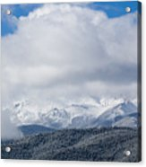 Storm Clouds And Snow On Pikes Peak Acrylic Print