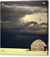 Storm Clouds Behind Abandoned Saskatchewan Barn Acrylic Print