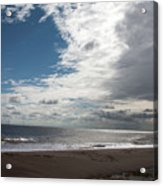 Storm Clouds Clearing The Beach With Wind Farm In The Background Skegness Lincolnshire England Acrylic Print