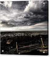 Storm Clouds Over Beached Shipwreck Acrylic Print