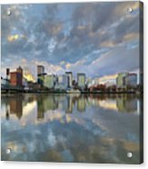 Storm Clouds Over Portland Skyline During Sunset Acrylic Print