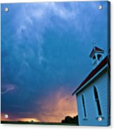 Storm Clouds Over Saskatchewan Country Church Acrylic Print