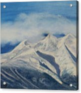 Storm Clouds Over Winter Mountain Blues Acrylic Print