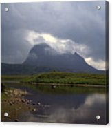 Storm Clouds Passing Across Suilven  And Fion Loch Near Ullapool Ross And Cromarty Scotland Acrylic Print