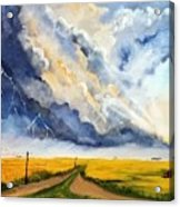 Storm Over The Country Road Acrylic Print