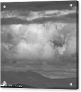 Storms Over The Cargo Ship - Black And White Acrylic Print
