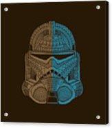Stormtrooper Helmet - Star Wars Art - Brown Blue Acrylic Print
