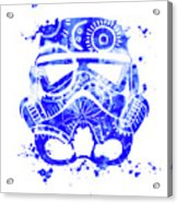 Stormtrooper Mask Blue 1 Acrylic Print