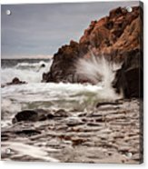 Stormy Beach Waves Acrylic Print
