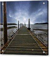 Stormy Jetty Acrylic Print by Meirion Matthias