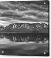 Stormy Lake Tahoe Black And White Acrylic Print