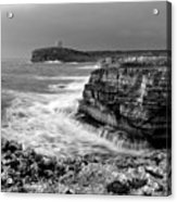 stormy sea - Slow waves in a rocky coast black and white photo by pedro cardona Acrylic Print