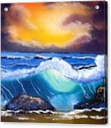 Stormy Sunset Shoreline Acrylic Print