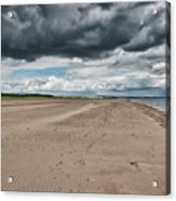 Stormy Weather Over Tentsmuir Beach In Scotland Acrylic Print