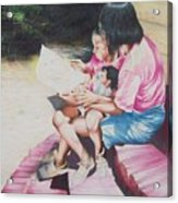 Storytime On The Steps 2 Acrylic Print