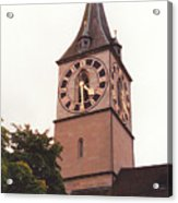 St.peter Church Clock In Zurich Switzerland Acrylic Print