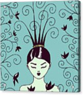 Strange Hairstyle And Flowery Swirls Acrylic Print