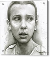 Stranger Things Eleven Upside Down Art Portrait Acrylic Print