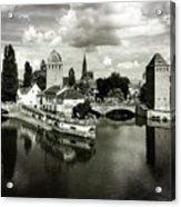Strasbourg. View From The Barrage Vauban. Black And White Acrylic Print