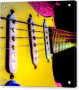 Stratocaster Pop Art Pink Fire Neck Series Acrylic Print