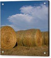 Straw Bales On A Hog Farm In Kansas Acrylic Print
