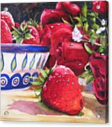 Strawberries And Roses Acrylic Print