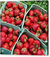 Strawberries In A Box On The Green Grass Acrylic Print