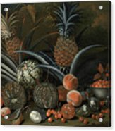 Strawberries In A Porcelain Bowl With Pineapples Melons Peaches And Figs Before A Tropical Landscape Acrylic Print