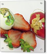 Strawberry And Easter Eggs Acrylic Print