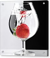 Strawberry In A Glass Acrylic Print by Oleksiy Maksymenko