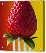 Strawberry On Fork Acrylic Print by Garry Gay