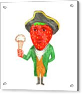 Strawberry Tricorn Hat Ice Cream Victorian Gentleman Watercolor Acrylic Print