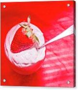 Strawberry Yogurt In Round Bowl With Spoon Acrylic Print