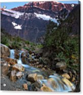 Stream And Mt. Edith Cavell At Sunset Acrylic Print