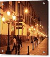 Street At Night, Lima Peru Acrylic Print