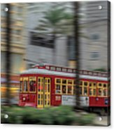 Street Car Flying Down Canal Acrylic Print