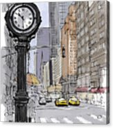 Street Clock On 5th Avenue Handmade Sketch Acrylic Print