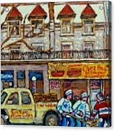 Street Hockey Pointe St Charles Winter  Hockey Scene Paul's Restaurant Quebec Art Carole Spandau     Acrylic Print