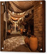 Street In Gothic District Of Barcelona At Night Acrylic Print