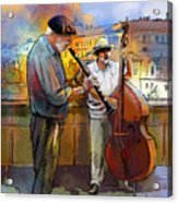 Street Musicians In Prague In The Czech Republic 01 Acrylic Print