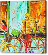 Street Of Amsterdam - Four Girls Acrylic Print