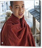 Street Portrait Of A Young Monk Acrylic Print