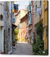 Street With Sunshine In Villefranche-sur-mer Acrylic Print