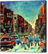 Streetscenes Of Montreal Hockey Paintings By Montreal Cityscene Specialist Carole Spandau Acrylic Print
