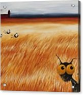 Stressie Cat And Crows In The Hay Fields Acrylic Print