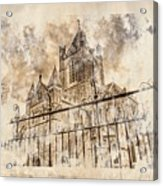 Stroked S.patrick Cathedral Acrylic Print by Andrea Barbieri