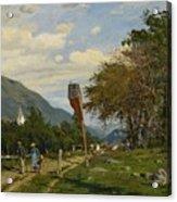 Strutzel, Otto 1855 Dessau - 1930   On The Way Home. In The Background The Steeple Of Garmisch-parte Acrylic Print