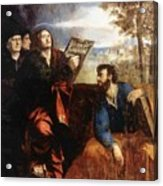 Sts John And Bartholomew With Donors 1527 Acrylic Print